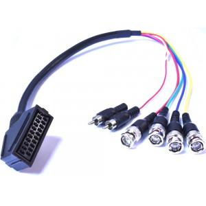 Female RGBS SCART to 4 x BNC adapter cable for Sony PVM/ BVM monitors