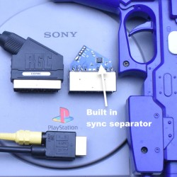 PlayStation 1 PS1 RGB PACKAPUNCH SCART cable + Composite Sync CSYNC cable & Guncon port