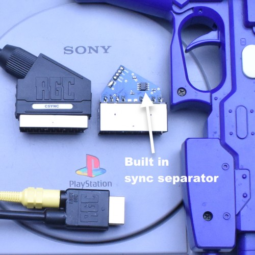 PlayStation 1 PS1 RGB SCART Composite Sync CSYNC cable with Guncon port