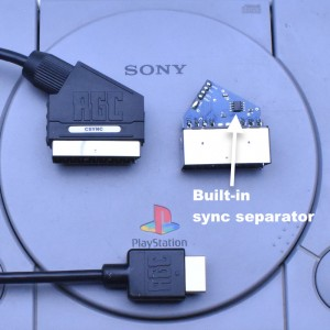 PlayStation 1 PS1 RGB SCART PACKAPUNCH cable + Composite Sync CSYNC