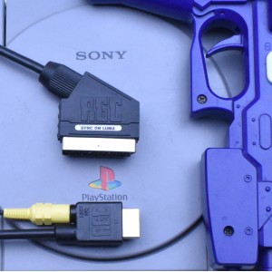 PlayStation 1 PS1 RGB SCART PACKAPUNCH cable sync on luma cable + Guncon port