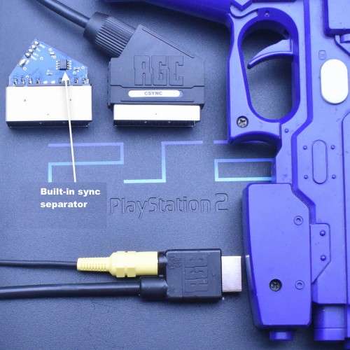 PlayStation 2 PS2 RGB SCART Composite Sync CSYNC cable with Guncon port