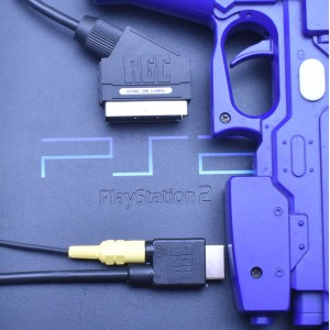 PlayStation 2 PS2 RGB SCART sync on luma cable lead with Guncon port