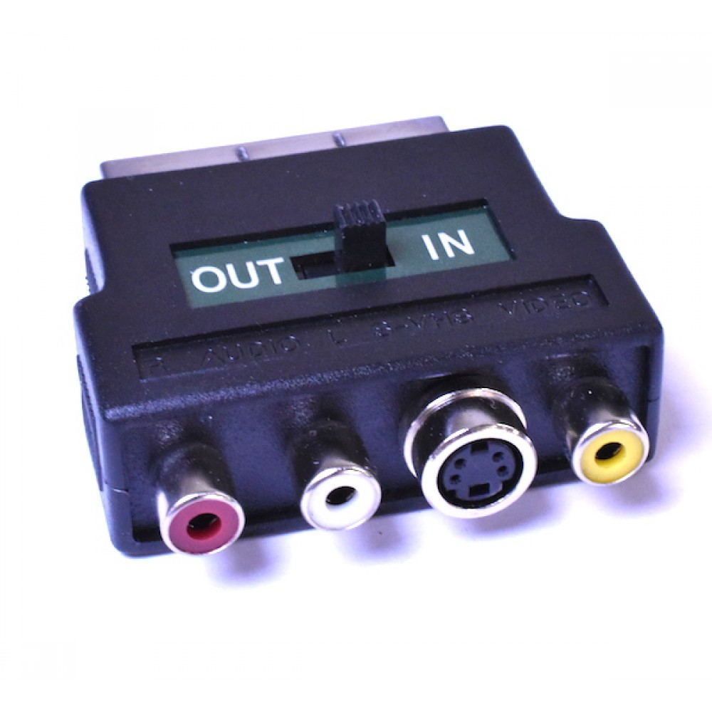 Switched Scart To Composite Video Adapter 2 Way Phono Switch Box Rca For And Audio