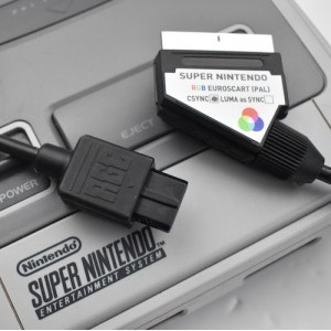 Nintendo Super SNES RGB SCART (PAL) wired for composite sync CSYNC