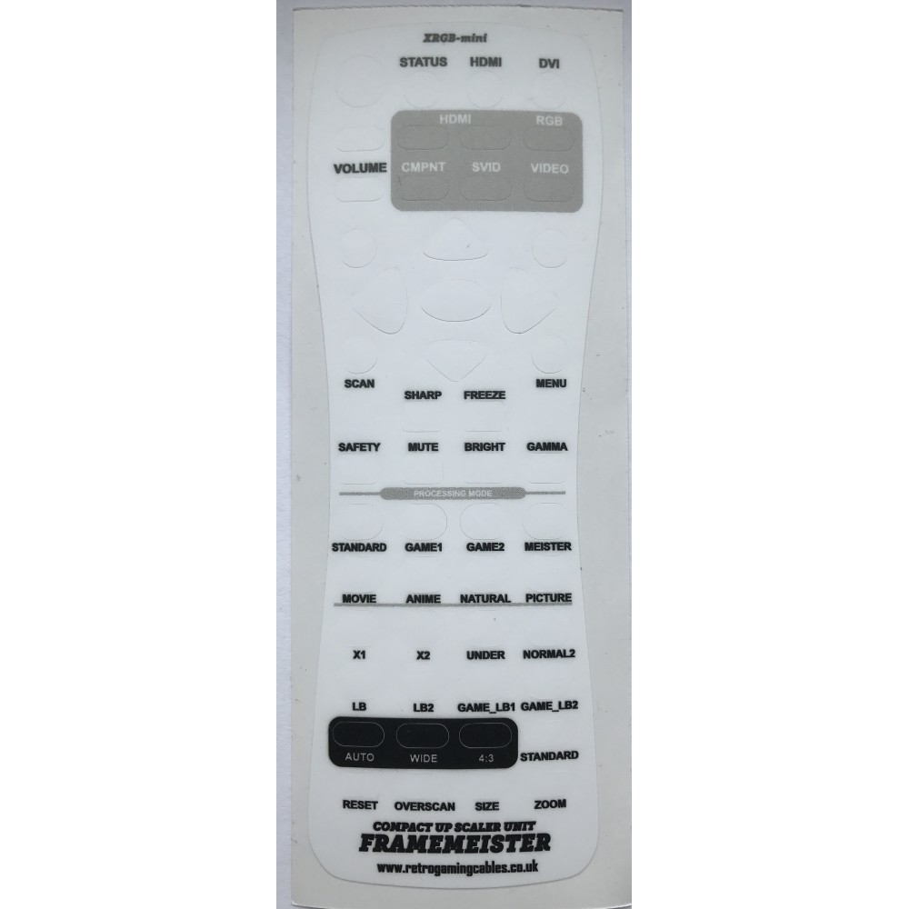 English lexan overlay XRGB mini Framemeister Remote control