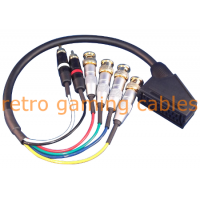 Female RGBS SCART to BNC adapter breakout cable for Sony PVM and BVM monitors