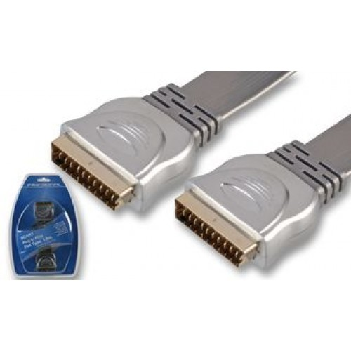 HQ Scart Lead with Low Profile OFC Cable, 1.8m Grey